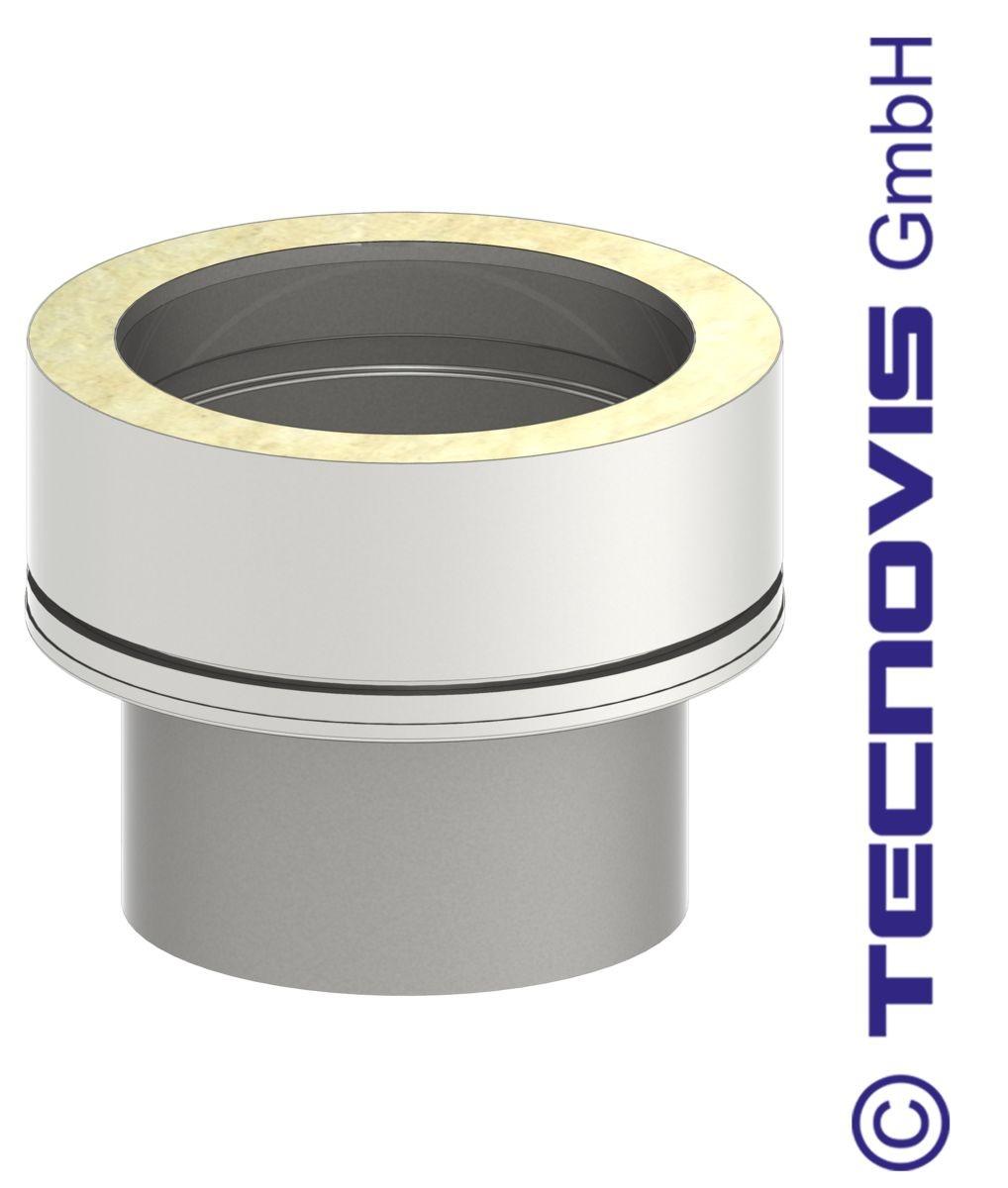 Adaptateur INOX simple - double paroi 180 mm