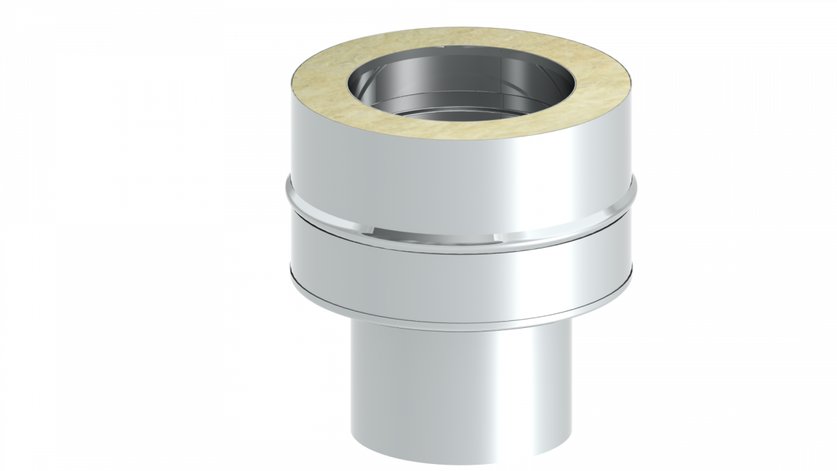 Adaptateur inox simple - double paroi 100 mm