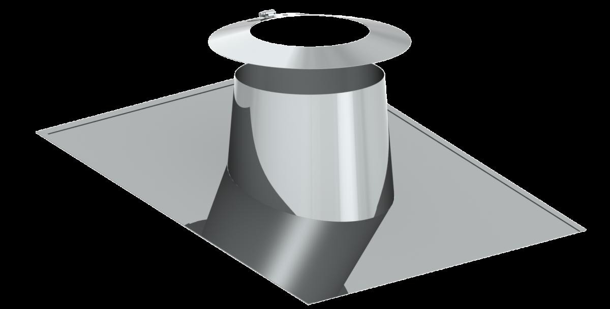 Solin en pente pour toit plat 26 - 35º - avec collerette