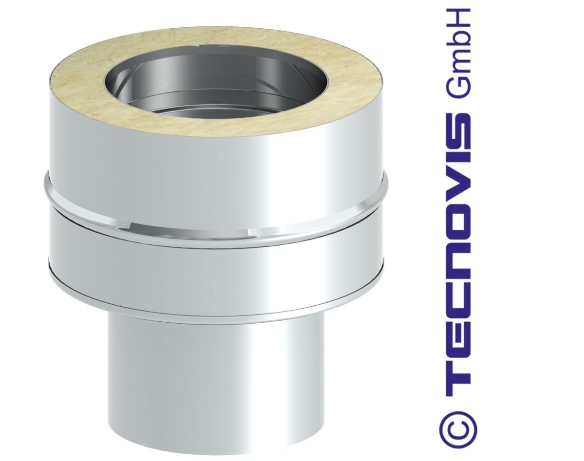 Adaptateur simple paroi inox - double paroi 250 mm